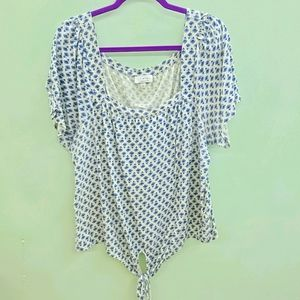LUCKY BRAND Grey and blue tie top size 2X